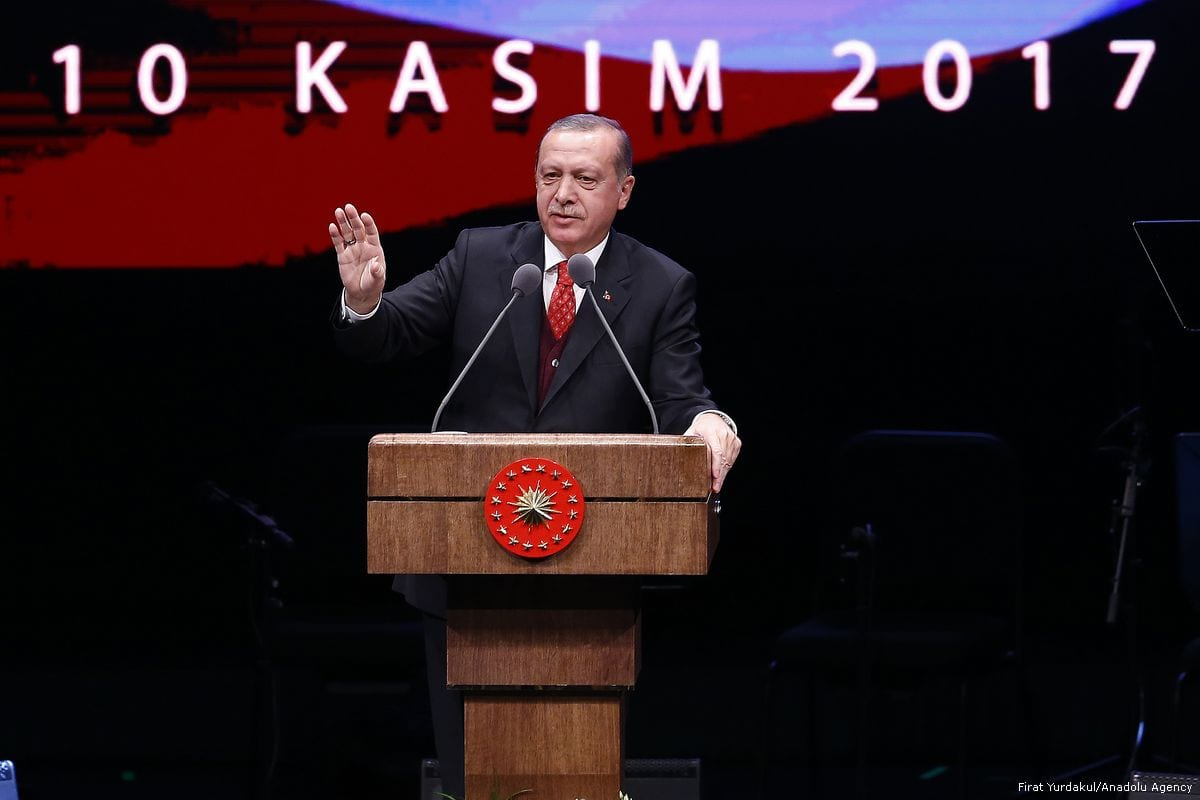 Turkish President Recep Tayyip Erdogan seen giving a speech commemorating 79th anniversary of Ataturk's death on November 10, 2017 [Mehmet Ali Özcan/Anadolu Agency]