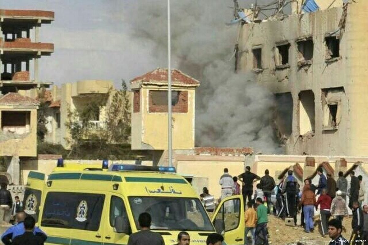 Ambulances arrive at the scene of a bomb that hit a mosque in Sinai, Egypt killing on 24 November 2017 [alex_thugdup/Twitter]