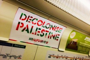Posters reading 'Decolonise Palestine' have appeared all over London's transport network