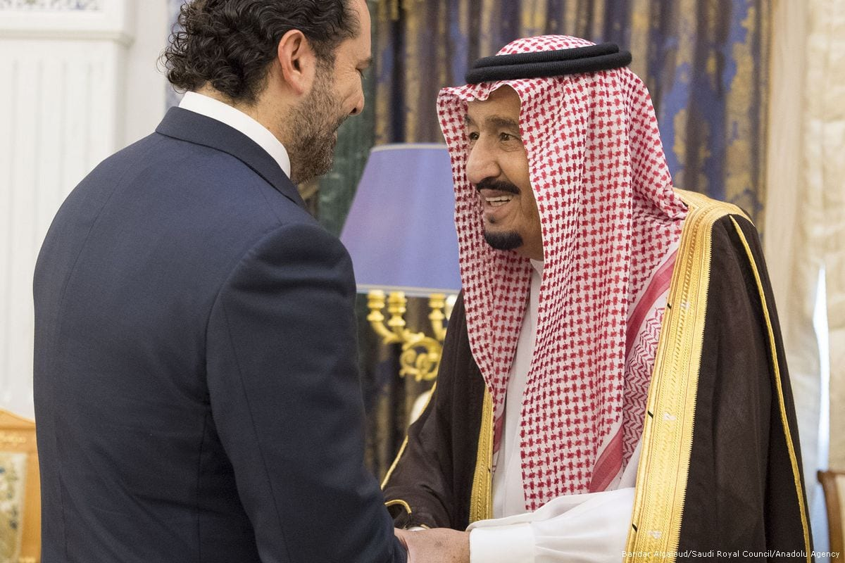 King of Saudi Arabia Salman bin Abdulaziz Al Saud (R) shakes hands with former Prime Minister of Lebanon Saad Hariri (L) in Riyadh, Saudi Arabia on 6 November 2017 [Bandar Algaloud/Anadolu Agency]