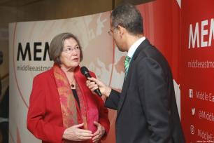 Former UK Minister for International Development, Clare Short, seen at MEMO's 'Saudi in Crisis' conference, on November 19, 2017 [Middle East Monitor]