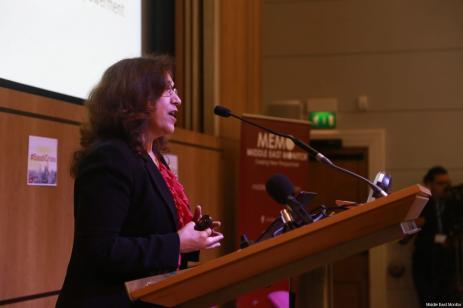 Prof. Madawi Al-Rasheed addresses delegates at MEMO's 'Saudi in Crisis' conference, on November 19, 2017 [Middle East Monitor]