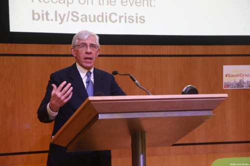 Jack Straw speaking at MEMO's 'Saudi in Crisis' conference, on November 19, 2017 [Middle East Monitor]