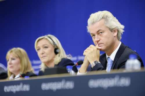 Marine Le Pen (centre), the leader of France's far-right Front National political party, seen with Dutch far-right leader Geert Wilders (right) during a press conference on the 'Scenarios of a new cooperation between European nations' at the European Parliament [EU]