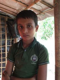 Mohammed Shofique, 11 year old Rohingya refugee currently residing at the Thainkhali Camp in Bangladesh