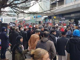 Protestors gather against US President Trump's Jerusalem announcement in Birmingham, UK on December 24, 2017