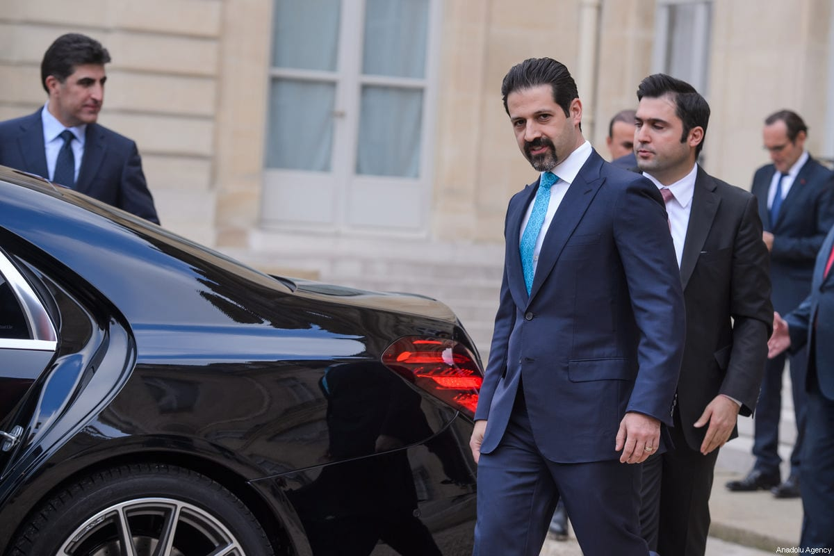 Vice-Prime Minister of Iraqi Kurdish Regional Government (IKRG) Qubad Talabani (R) leaves the Elysee Palace after a meeting with French President Emmanuel Macron in Paris, France on 2 December, 2017 [Lucien Camosso/Anadolu Agency]