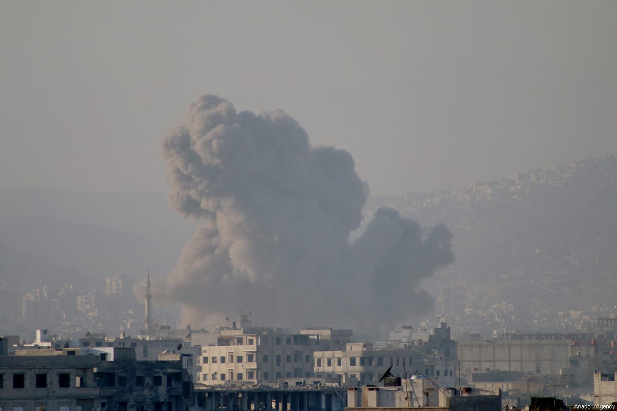 Smoke rises after Assad regime's warplane carried out airstrikes over Arbin town of the Eastern Ghouta region in Damascus, Syria on December 2, 2017 [Samir Tatin / Anadolu Agency]