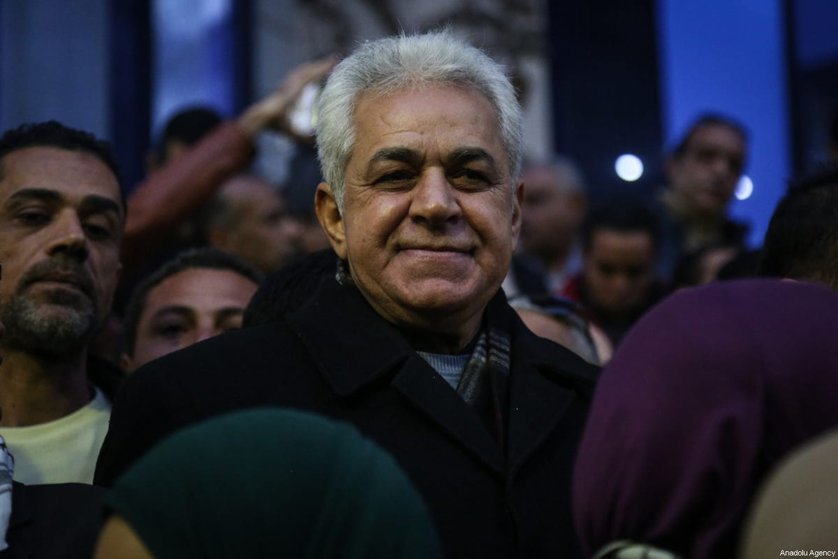 Former presidential candidate and journalist Hamdeen Sabahi attends a protest against the US President Donald Trump's recognition of Jerusalem as Israel's capital, in front of headquarters of the journalists' union in Cairo, Egypt on December 7, 2017 [Mohamed el Raai / Anadolu Agency]