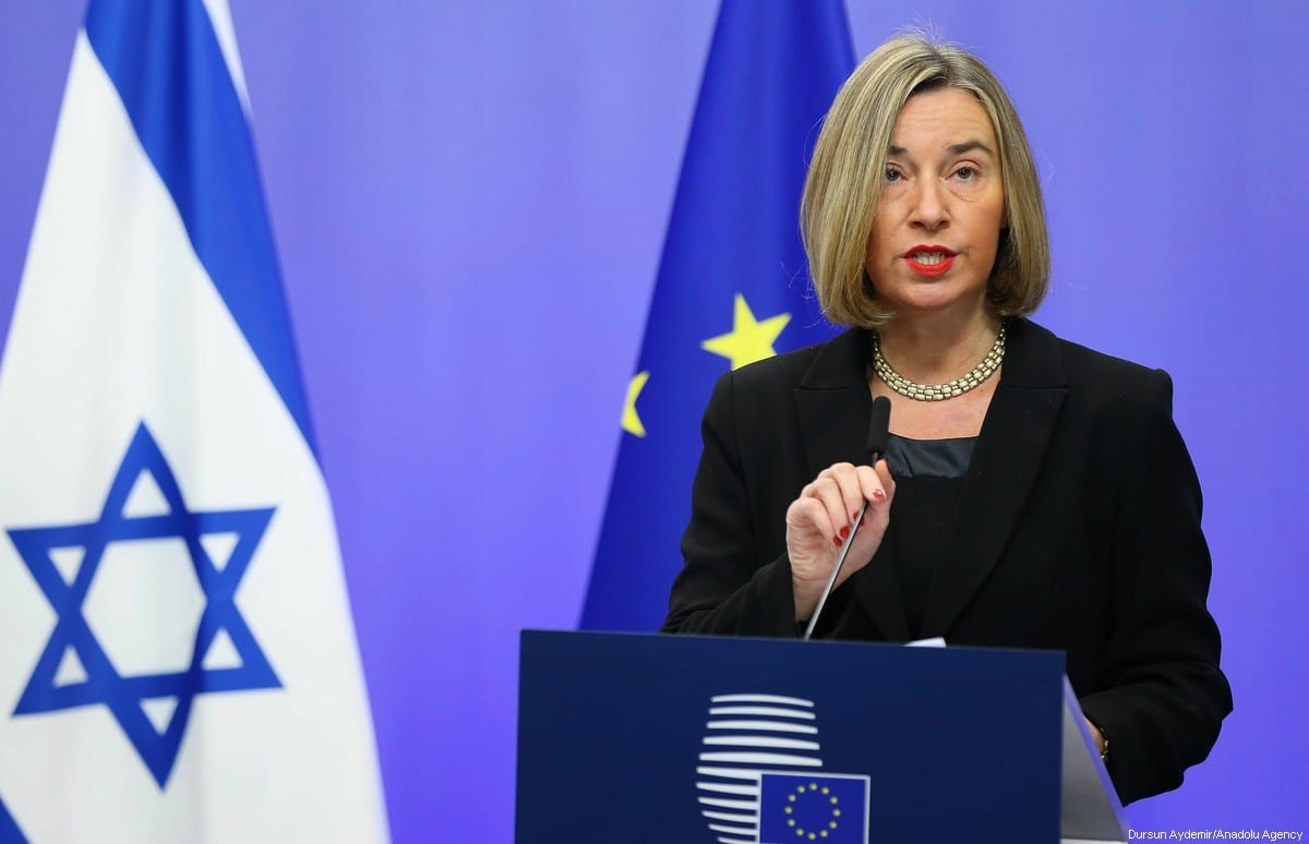 High Representative of the European Union (EU) for Foreign Affairs and Security Policy and Vice-President of the European Council Federica Mogherini holds a joint press conference with Israeli Prime Minister Benjamin Netanyahu (not seen) at the European Council headquarters within the EU Foreign Affairs Council in Brussels, Belgium on 11 December, 2017 [Dursun Aydemir/Anadolu Agency}