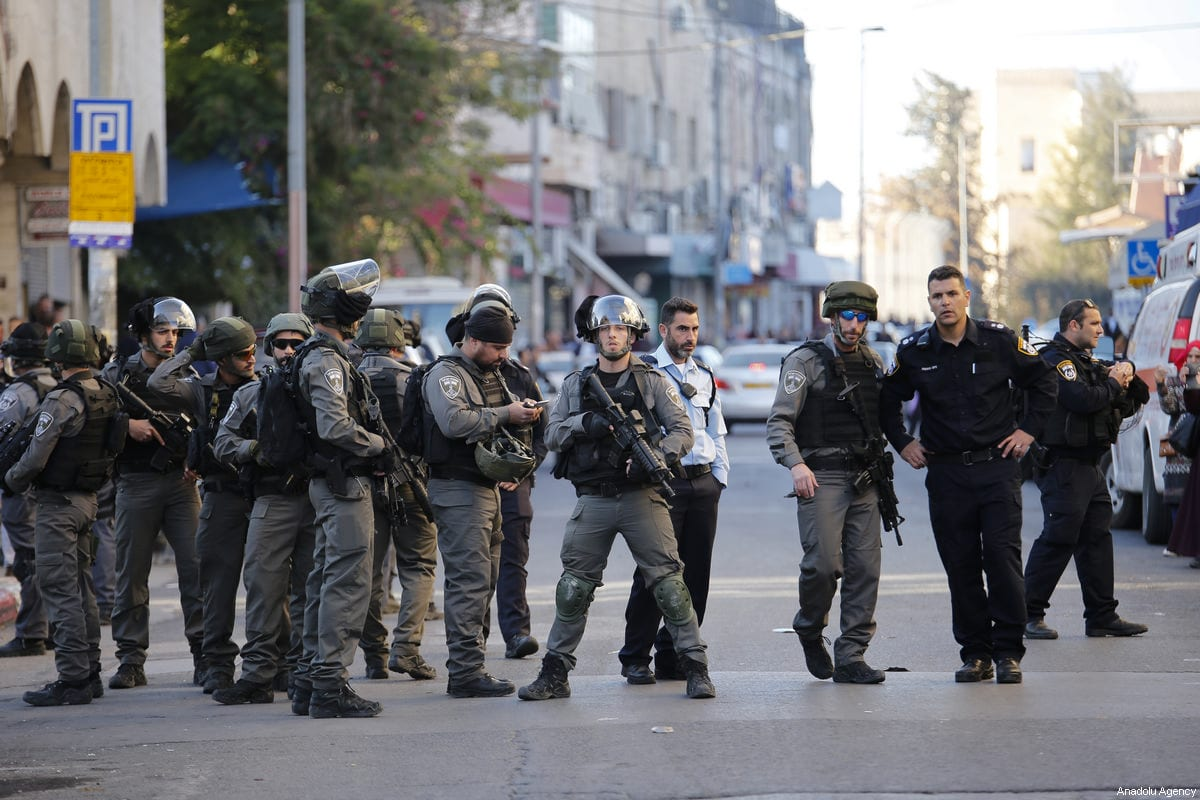 Israeli security forces seen during a protest against US President Donald Trump's announcement to recognize Jerusalem as the capital of Israel and plans to relocate the US Embassy from Tel Aviv to Jerusalem,in east Jerusalem on December 16, 2017 [Mostafa Alkharouf/Anadolu Agency]