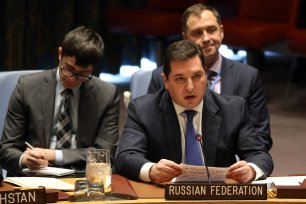 Russian Deputy Permanent Representative to the United Nations Vladimir Safronkov (C) speaks during the UN Security Council meeting on Trump's recognition of Jerusalem as Israel capital city at UN Headquarters in New York, United States on 18 December 2017 [Mohammed ElshamyAnadolu Agency]