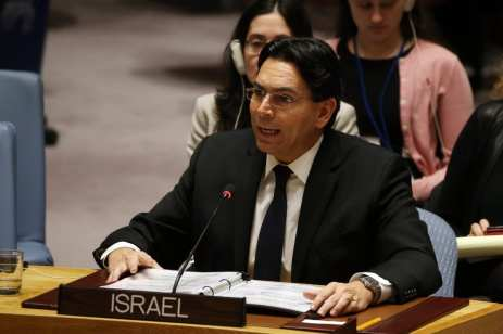 Israeli Ambassador to the UN Danny Danon addresses the UN Security Council in New York, US [Mohammed Elshamy/Anadolu Agency]