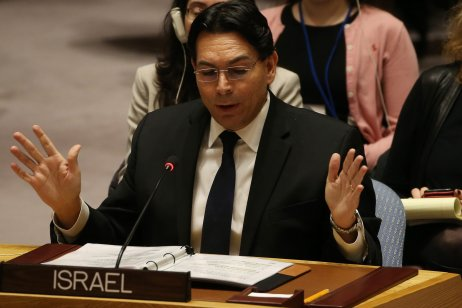 Israeli Ambassador to the UN Danny Danon addresses the U.N. Security Council in New York, US on 18 December 2017 [Mohammed Elshamy/Anadolu Agency]