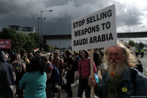 Activists come together together to condemn exporting arms to Saudi Arabia on 9 September 2017, a few days before the DSEI Arms Export was due to take place in London, UK [Alisdare Hickson/Flickr]