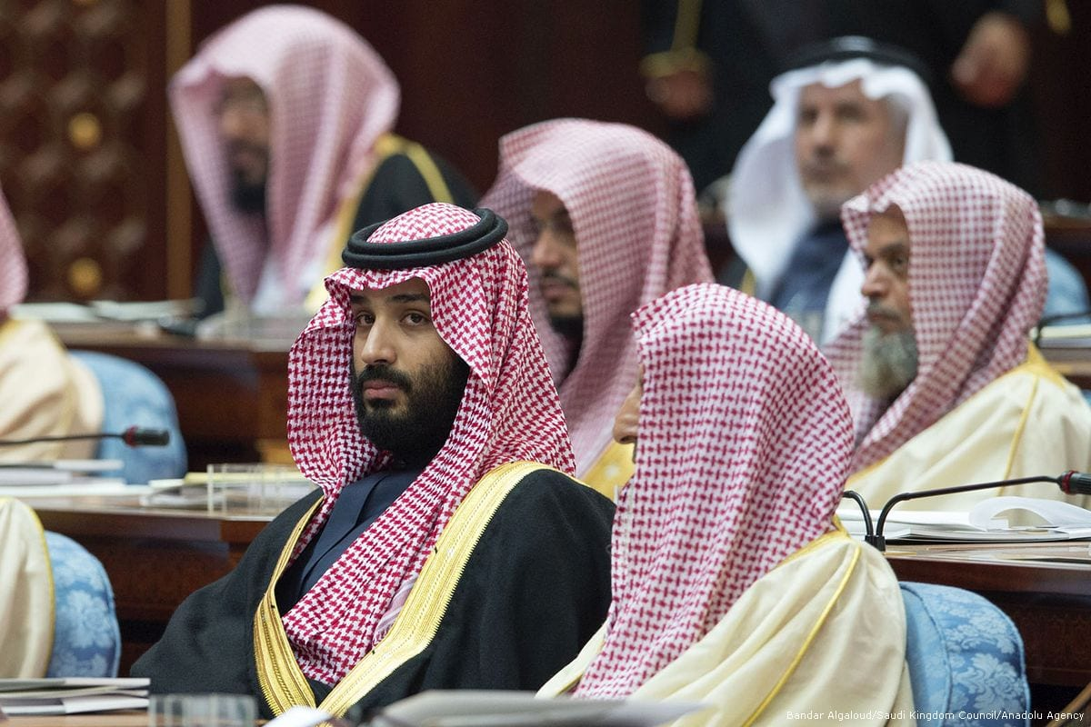Crown Prince and Defence Minister of Saudi Arabia Mohammed bin Salman Al Saud attends a Shura Council meeting in Riyadh, Saudi Arabia on 13 December 2017 [Bandar Algaloud/Saudi Kingdom Council/Anadolu Agency]