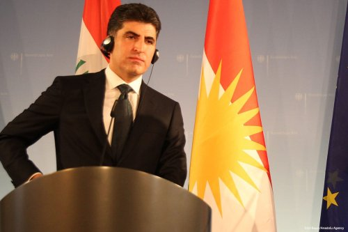 Prime Minister of Iraqi Kurdish Regional Government (IKRG) Nechirvan Barzani speaks during a press conference in Germany on 18 December 2017 [David Stanley/Flickr]