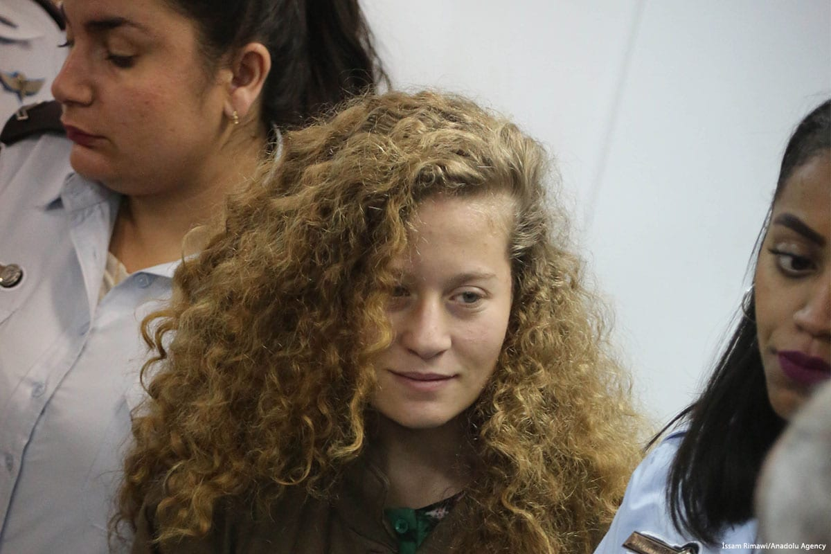 16-year-old Palestinian Ahed Al-Tamimi, appears in court after she was taken into custody by Israeli soldiers, in Ramallah, West Bank on 28 December 2017 [Issam Rimawi/Anadolu Agency]