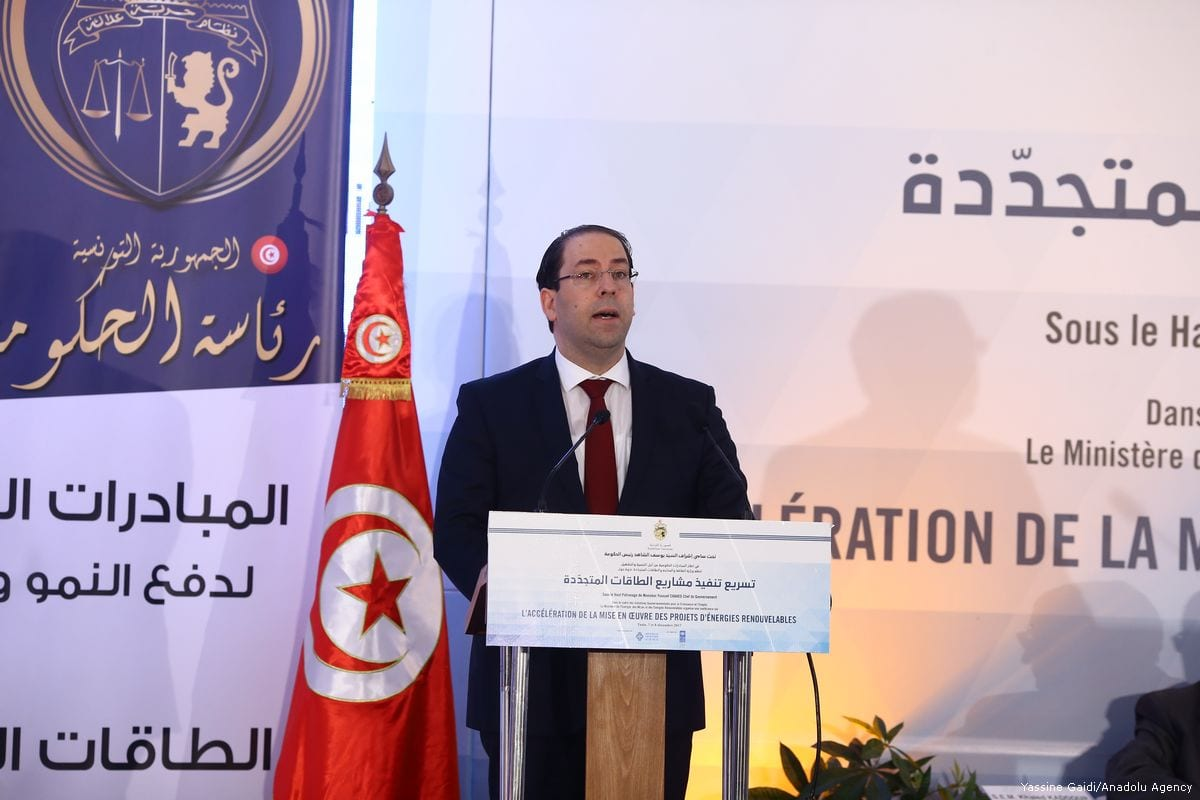 Tunisia's Prime Minister Youssef Chahed speaks during a press conference in Tunis, Tunisia on 7 December 2017 [Yassine Gaidi/Anadolu Agency]