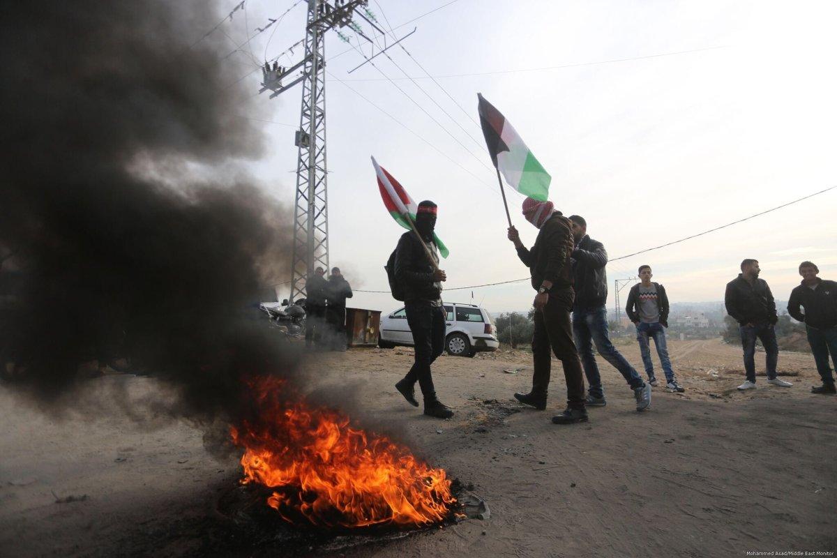 Gaza protests against Bahrain delegation in Jerusalem [Mohammed Asad/Middle East Monitor]