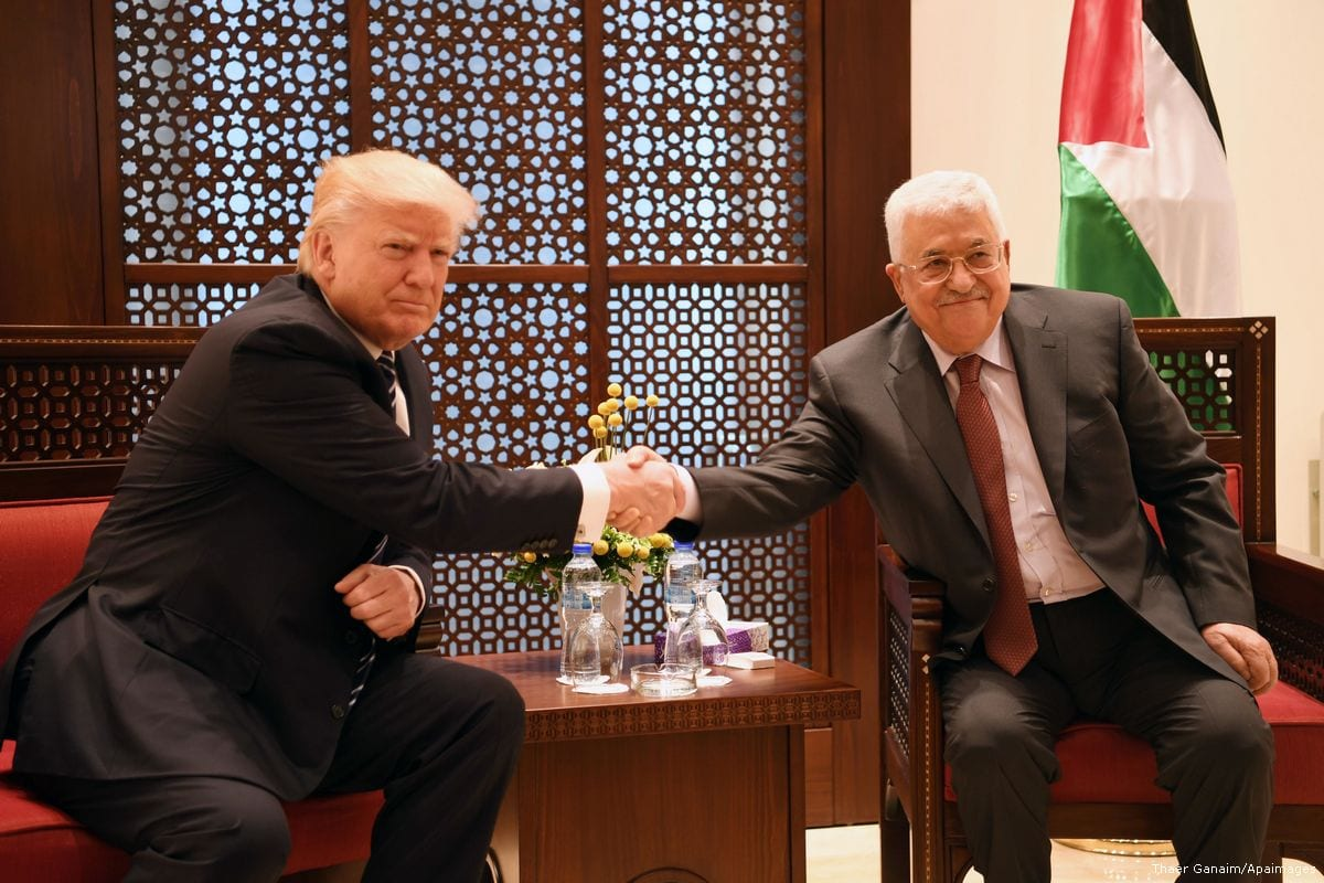 Palestinian President Mahmoud Abbas meets with US President Donald Trump in the West Bank town of Bethlehem 23 May 2017