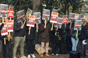 Protestors gather outside UAE embassy against Middle East conflicts, on December 2, 2017 in London, United Kingdom