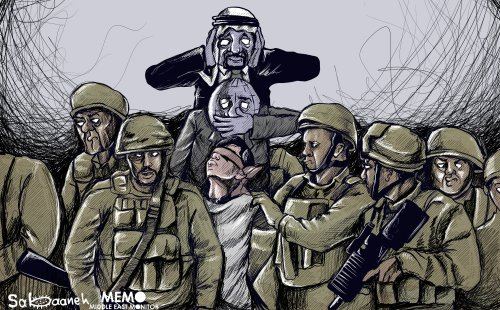 Palestinian teenager being detained by Israeli troops during a protest in Hebron No comment from Saudi or International Community - Cartoon [Sabaaneh/MiddleEastMonitor]