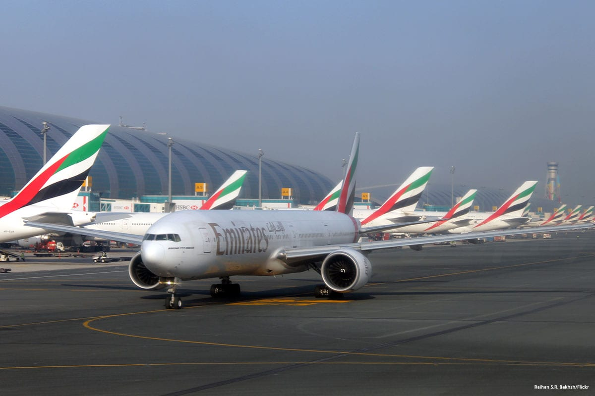 Emirates plane at the airport [Ali Atmaca/Anadolu Agency]
