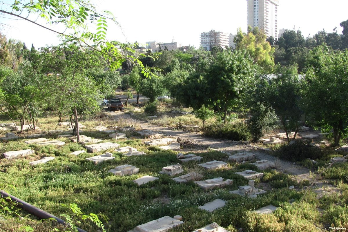 Partial view of of the historical Mamilla Cemetery, Jerusalem [Yoninah/Wikipedia]
