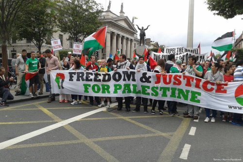People come together to support Palestine as they walk to the Israeli embassy in Dublin, Ireland [Tommy Morrin/Facebook]