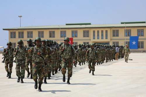 Newly graduated Somalian soldiers march to attend their graduation ceremony after receiving training period from Turkish military training academy in Mogadishu, Somalia on December 23, 2017 [Sadak Mohamed / Anadolu Agency]
