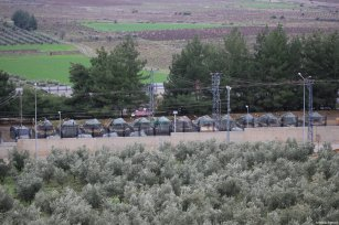 HATAY, TURKEY - JANUARY 19: Deployed Turkish Army tanks to reinforce the border units are seen in Hatay, Turkey on January 19, 2018. ( Cem Genco - Anadolu Agency )