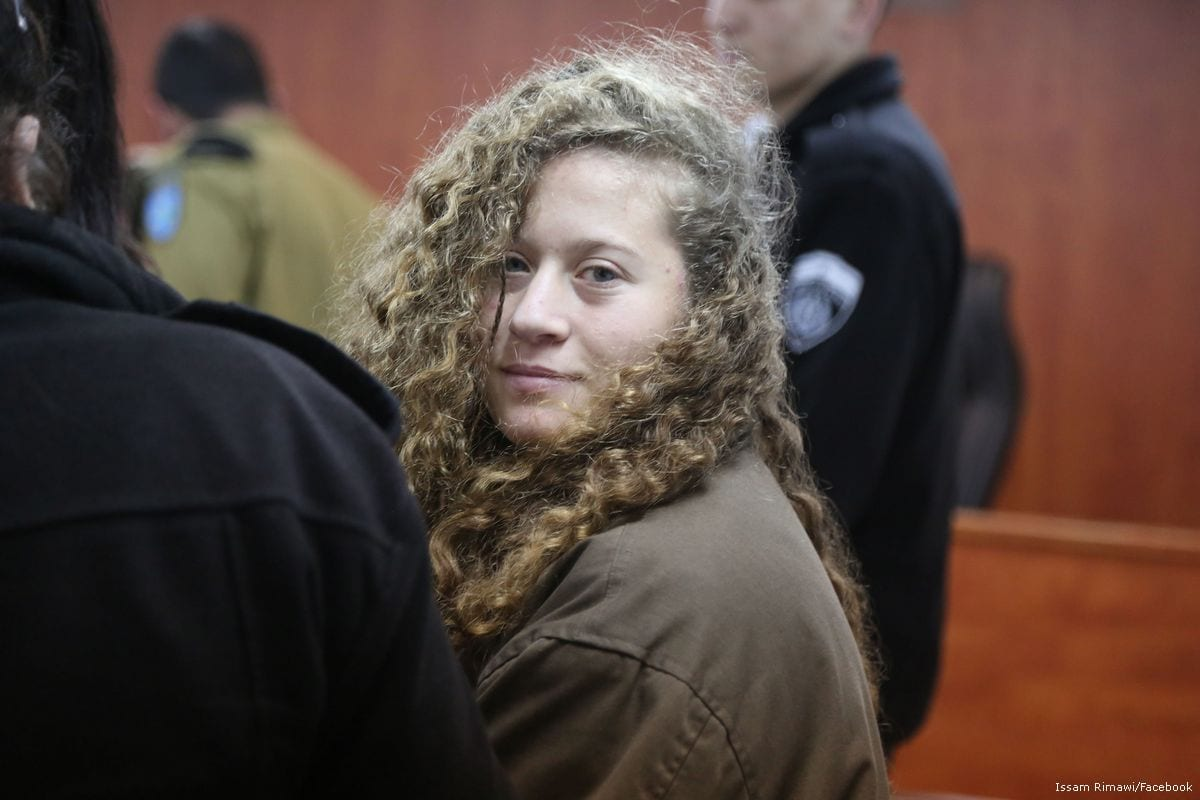 17-year-old Palestinian Ahed Al-Tamimi appears in court after she was taken into custody by Israeli soldiers, at Ofer Military Court in Ramallah, West Bank on 1 January 2018 [Issam Rimawi/Anadolu Agency]