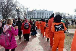 Protesters demanded the closure of the detention centre at the US Naval Base in Guantanamo Bay, Cuba on its 16th anniversary on 11 December 2017 [Safvan Allahverdi/Anadolu Agency]