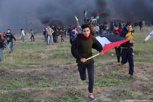 Israeli occupation forces fire at unarmed Palestinian protesters in the besieged Gaza Strip on 12 January 2018 six weeks after US President Donald Trump recognised Jerusalem as Israel's capital [Mohamed Asad/Middle East Monitor]
