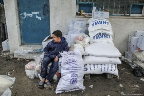A boy sits near the sacks of flours during a food aid distribution by the United Nations Relief and Works Agency for Palestine Refugees (UNRWA) on 15 January, 2018 [Ali Jadallah/Anadolu Agency]