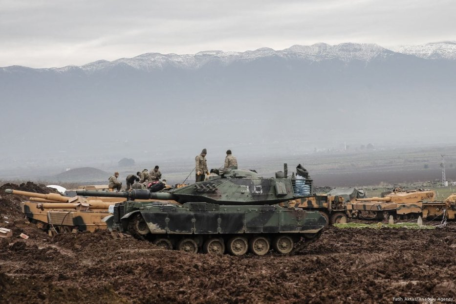Turkish military tanks are prepared for deployment as part of the 'Operation Olive Branch' on 20 January 2018 [Fatih Aktaş/Anadolu Agency]