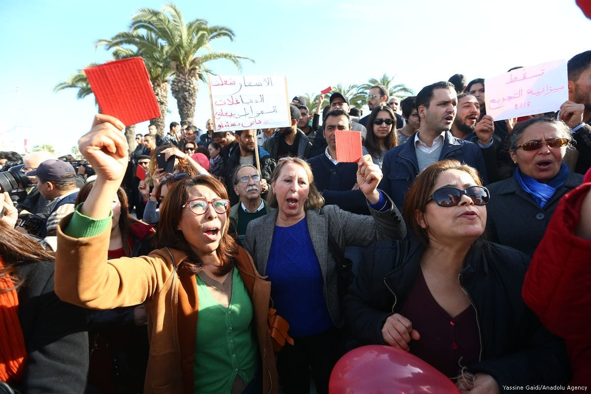 Tunisians protest against the high living cost in Tunis, Tunisia on 26 January 2018 [Yassine Gaidi/Anadolu Agency]
