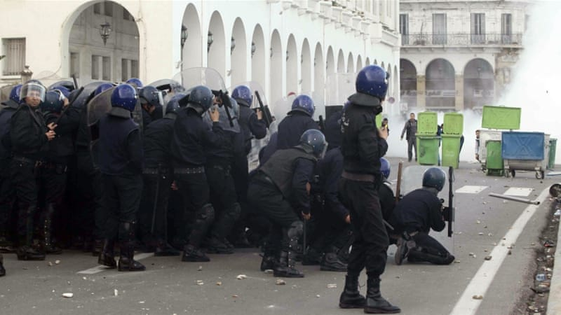 Algerian police in riot gear dispersed resident doctors protesting in Algiers on January 3, 2018