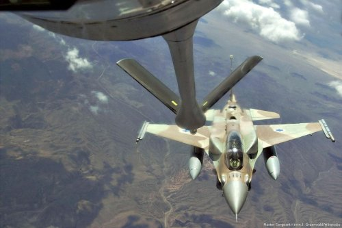 An Israeli F16-fighter jet preparing for a mid-aid refueling during a training mission [US Air Force photo/ Master Sgt. Kevin J. Gruenwald/Wikipedia]