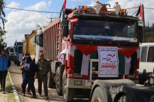 Truck driver strike in Gaza in 14 February, 2018 [Mohammed Asad/Middle East Monitor]