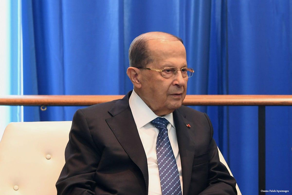 President of Lebanon Michel Aoun [Mohamemd Asad/Middle East Monitor]
