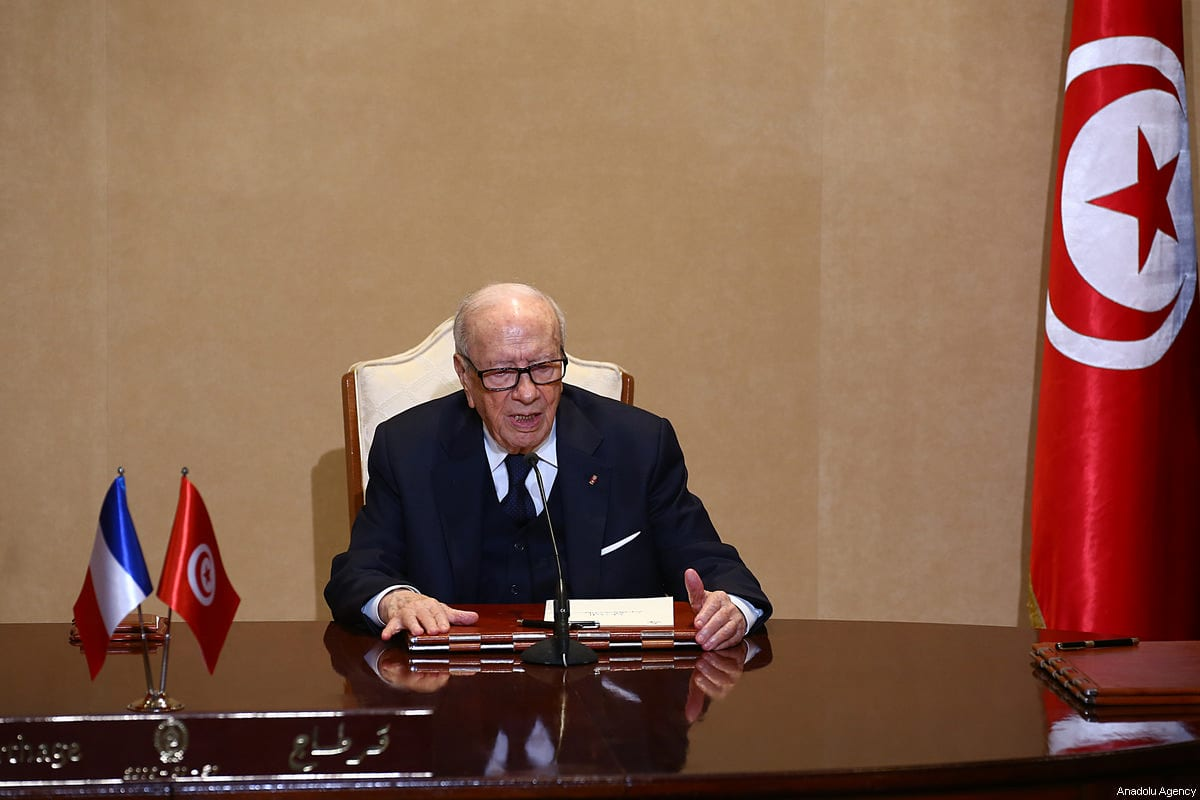 Tunisian President Beji Caid Essebsi at joint press conference with French President Macron (not seen) in Tunis, Tunisia on 31 January, 2018 [Yassine Gaidi/Anadolu Agency]