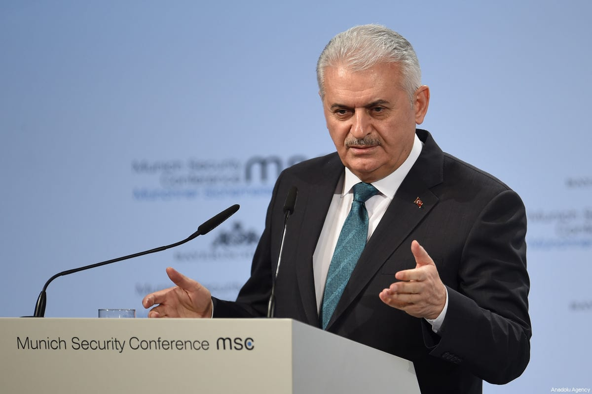 Prime Minister of Turkey Binali Yildirim speaks at the 54th Munich Security Conference (MSC) at Hotel Bayerischer Hof in Munich, Germany, on 17 February, 2018 [Andreas Gerbert/Anadolu Agency]