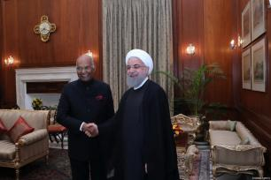 Indian President Ram Nath Kovind (L) meets with Iranian President Hassan Rouhani (R) at Presidential Palace in New Delhi, India on February 17, 2018 [Iranian Presidency / Handout / Anadolu Agency]