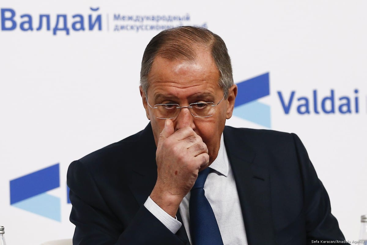 Russian Foreign Minister Sergey Lavrov is seen during the Valdai Discussion Club titled ''Russia in the Middle East: Playing on All Fields'' in Moscow, Russia on 19 February, 2018 [Sefa Karacan/Anadolu Agency]