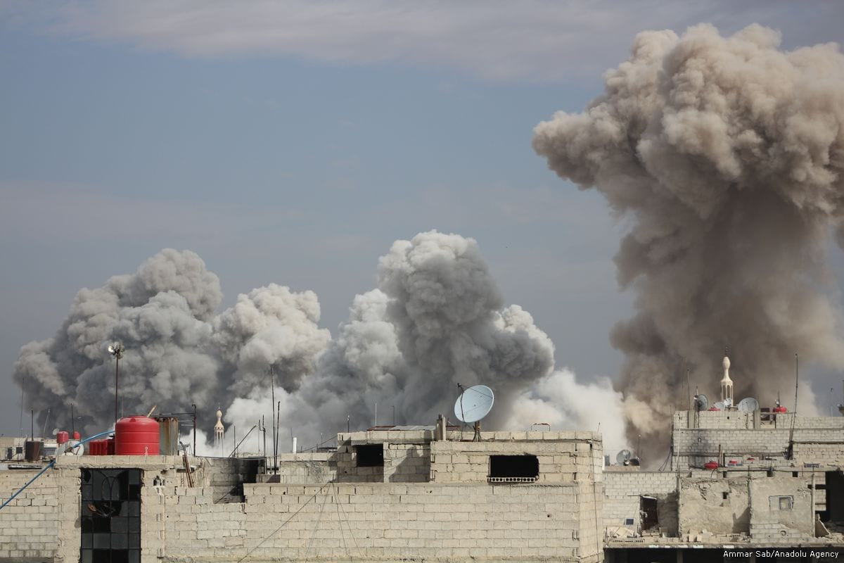 Smoke rises after the Assad Regime carried out air strikes in Eastern Ghouta, Syria on 7 February 2018 [Ammar Sab/Anadolu Agency]