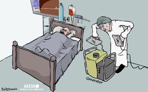 Gaza hospital suspends services due to fuel shortages - Cartoon [Sabaaneh/MiddleEastMonitor]