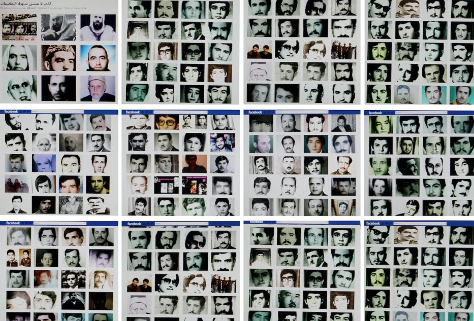"""A combo of reproduction pictures taken on February 2, 2012 in the Lebanese capital Beirut shows portraits of people allegedly killed during the 1982 Hama massacre on a Facebook page entitled """"Hama"""" described as a page run by independent citizens of the central Syrian city. [REPRODUCTION JOSEPH EID/AFP via Getty Images]"""