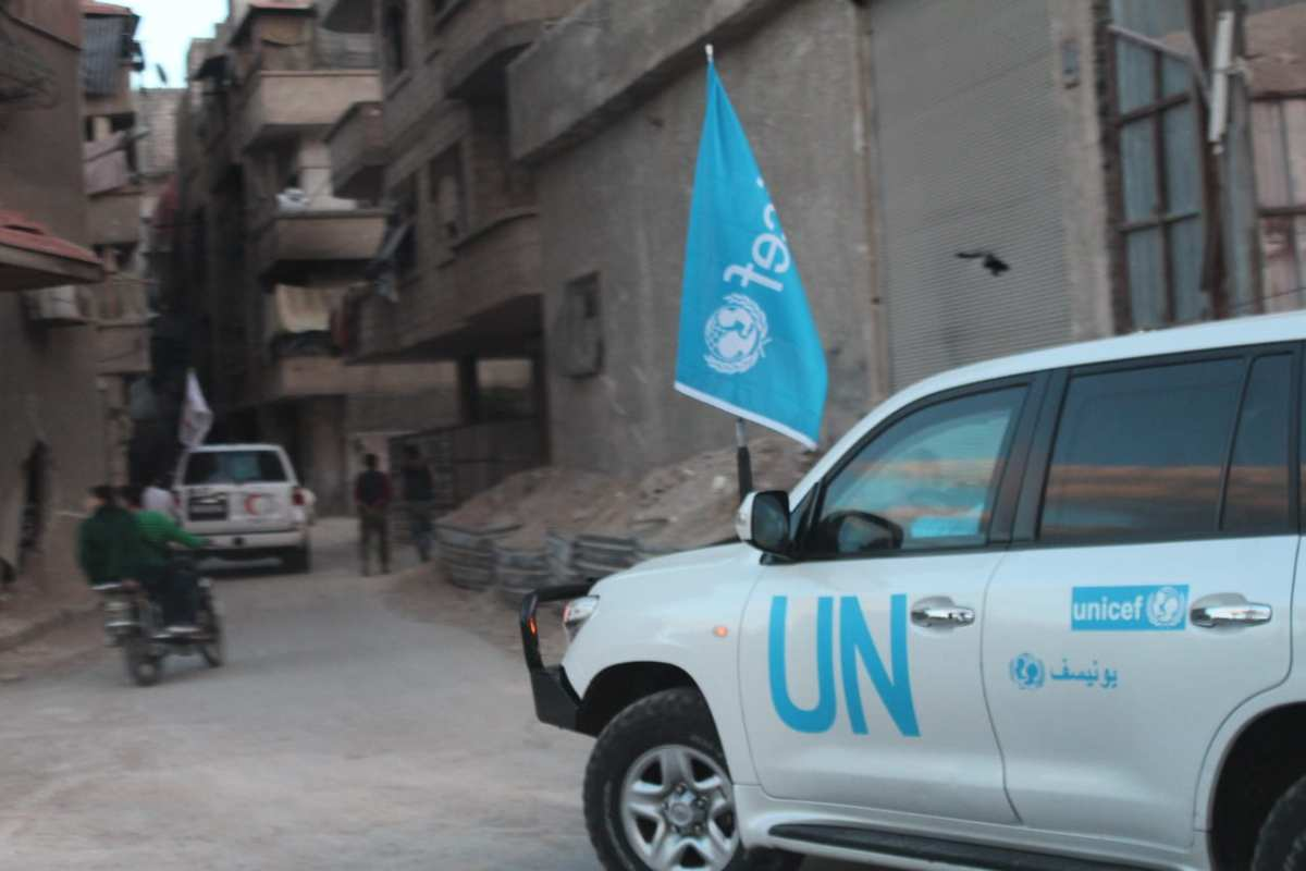 A UN convoy, the first since 28 November 2017 to enter Eastern Ghouta, where almost 400,000 civilians are under siege.